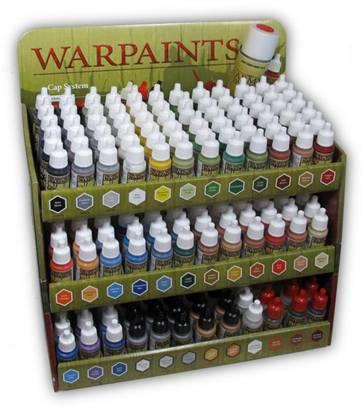 Expositor con toda la gama de pinturas de Warpaints de Army Painter