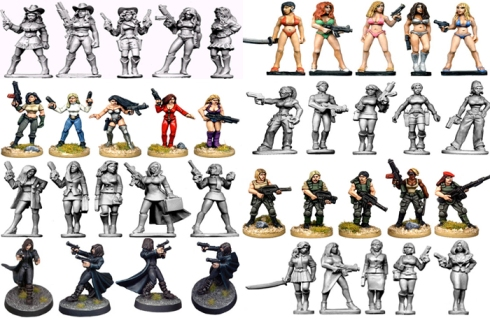 Miniaturas femeninas de Future Wars de la empresa Copplestone