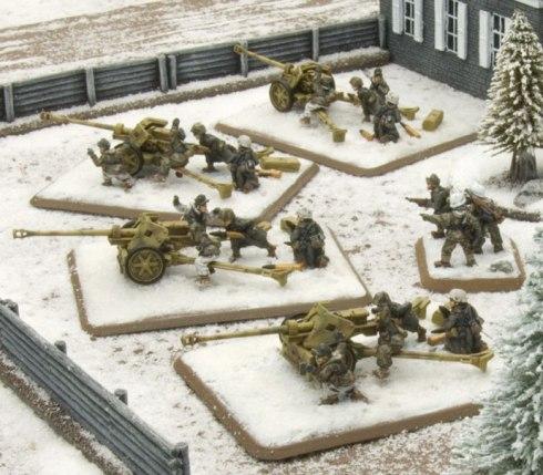 Cañón 7.5cm PaK40 aleman equipo de invierno de Flames of War