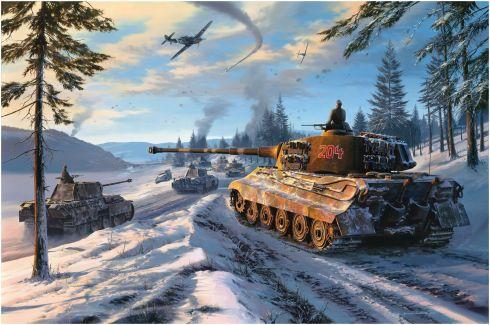 Dibujo de Tiger avanzando en las Ardenas con apoyo aereo