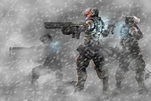 Soldados en combate en terreno nevado