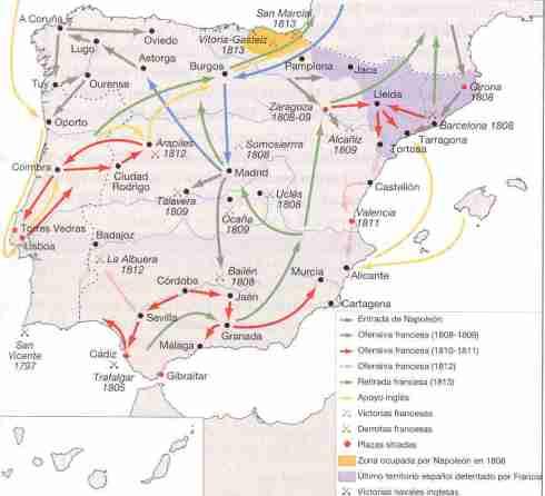 Mapa de principales batallas y escaramuzas en la Guerra de la Independencia Española