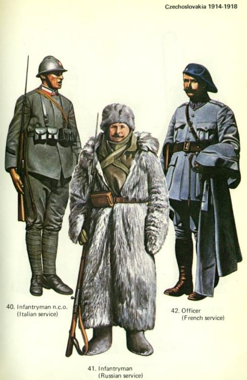 Lámina de soldados con diferentes atuendos de la Legión Checa de la Primera Guerra Mundial