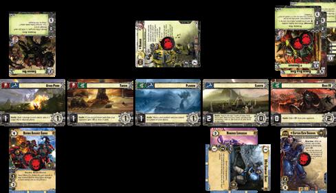 Disposición de una partida de Warhammer 40.000: Conquest en curso.