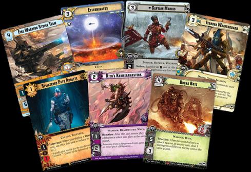 Algunas de las cartas de Conquest de Warhammer 40k para el nuevo LCG de FFG
